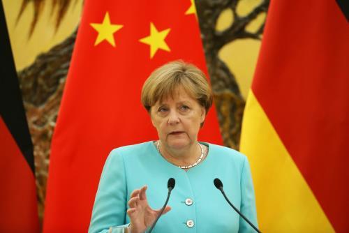 Thủ tướng Đức Angela Merkel phát biểu tại họp báo chung trong chuyến thăm Trung Quốc ba ngày từ 12 đến 14/6. Ảnh: EPA/TTXVN
