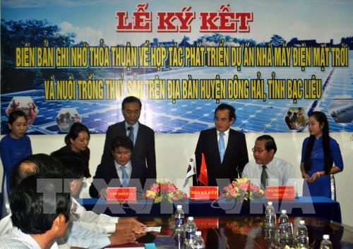 Ký thỏa thuận hợp tác phát triển dự án Nhà máy điện mặt trời tại Bạc Liêu
