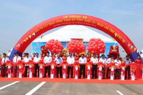 Thông xe dự án nâng cấp Quốc lộ 1 qua Quảng Trị