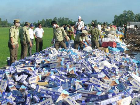 Tiêu hủy trên 340.000 gói thuốc lá điếu nhập lậu