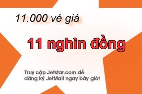 Jetstar Pacific mở bán 11.000 vé giá 11 nghìn đồng
