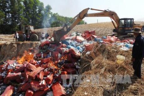 Vĩnh Long tiêu hủy hơn 33.000 gói thuốc lá ngoại