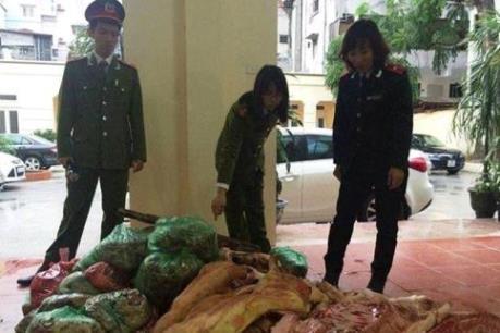Hưng Yên tiêu hủy gần 500 kg thịt lợn đông lạnh không đảm bảo vệ sinh
