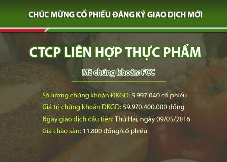 Cổ phiếu của CTCP Liên hợp Thực phẩm chính thức giao dịch tại sàn UPCOM
