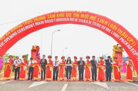Thông xe kỹ thuật đường trục trung tâm khu đô thị Mê Linh