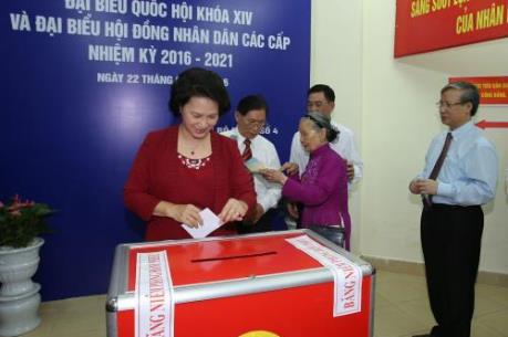 Chủ tịch Quốc hội Nguyễn Thị Kim Ngân bầu cử tại quận Ba Đình, thành phố Hà Nội