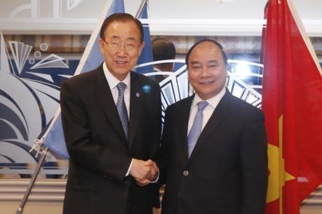Thủ tướng Nguyễn Xuân Phúc hội kiến với Tổng Thư ký LHQ Ban Ki-moon