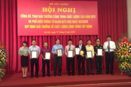 Công bố Giải thưởng công trình chất lượng cao 2015