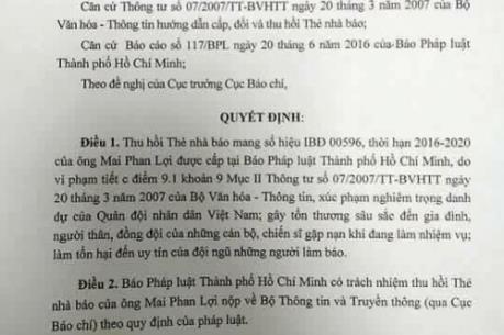 Thu thẻ nhà báo của Mai Phan Lợi vì sai phạm nghiêm trọng