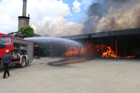 Cháy tại nhà máy xử lý rác thải ở Hoằng Hóa, Thanh Hóa