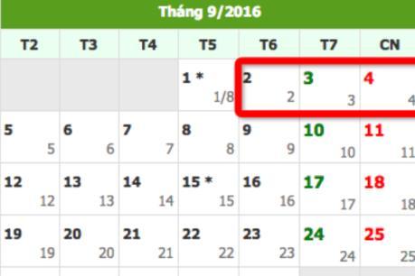 Lịch nghỉ lễ Quốc khánh 2/9/2016 chính thức