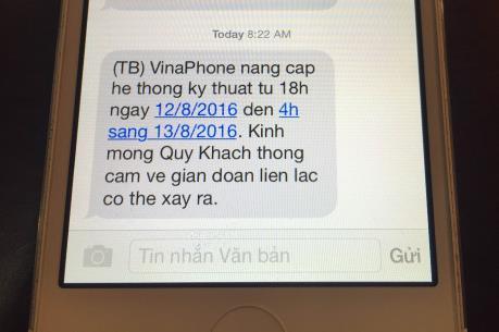 Mạng VinaPhone bị gián đoạn từ 18h hôm nay