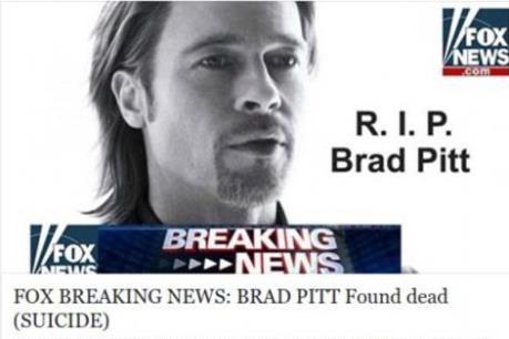 Cảnh báo: Nguy cơ dính mã độc vì click vào tin dữ về Brad Pitt