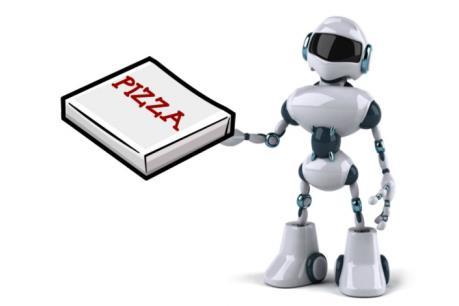 Thú vị robot thay con người chế biến và bán bánh Pizza