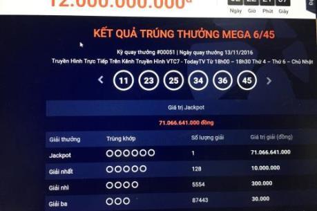 Tin mới nhất: Thêm người trúng hơn 71 tỷ đồng giải xổ số Vietlott
