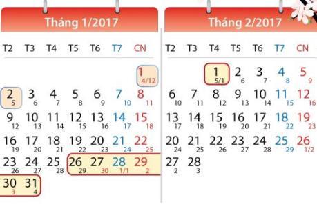 Lịch nghỉ Tết âm lịch 2017 của học sinh, sinh viên Hà Nội
