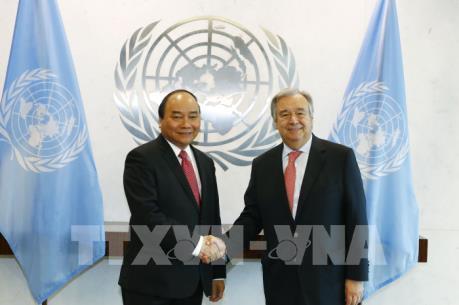 Thủ tướng Nguyễn Xuân Phúc hội đàm với Tổng thư ký Liên hợp quốc Antonio Guterres