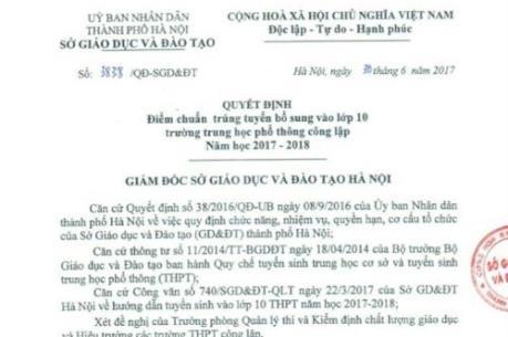 Hà Nội hạ điểm chuẩn vào lớp 10 thpt năm học 2017-2018