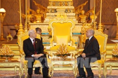 Tổng Bí thư Nguyễn Phú Trọng hội đàm với Quốc vương Campuchia Norodom Sihamoni