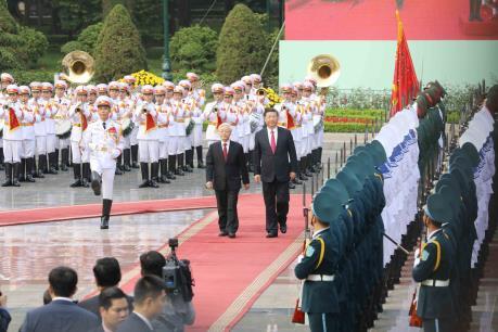 Tổng Bí thư Nguyễn Phú Trọng chủ trì lễ đón chính thức Tổng Bí thư, Chủ tịch Trung Quốc