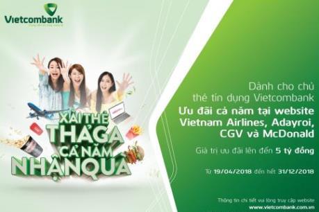 """Chủ thẻ tín dụng Vietcombank """"xài thẻ thả ga, cả năm nhận quà"""""""