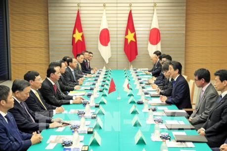 Chủ tịch nước Trần Đại Quang hội đàm với Thủ tướng Nhật Bản Shinzo Abe
