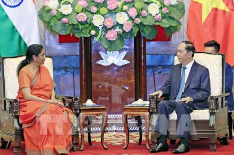Chủ tịch nước Trần Đại Quang tiếp Bộ trưởng Bộ Quốc phòng Ấn Độ Nirmala Sitharaman