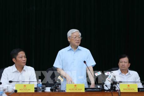 Tổng Bí thư Nguyễn Phú Trọng làm việc với Ban Cán sự Đảng Bộ Công Thương