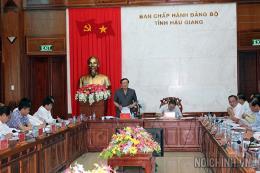Đoàn công tác của BCĐTW về phòng chống tham nhũng làm việc với Thường vụ Tỉnh ủy Hậu Giang