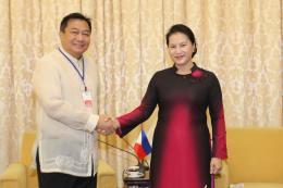 Chủ tịch Quốc hội Nguyễn Thị Kim Ngân tiếp Chủ tịch Hạ viện Philippines
