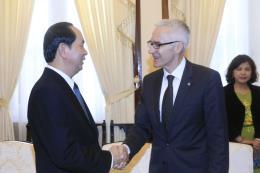 Chủ tịch nước Trần Đại Quang tiếp Tổng Thư ký Tổ chức Cảnh sát hình sự quốc tế