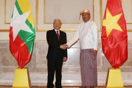 Tổng Bí thư Nguyễn Phú Trọng hội đàm với Tổng thống Myanmar Htin Kyaw