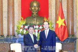 Chủ tịch nước Trần Đại Quang tiếp Bộ trưởng Tái thiết kinh tế Nhật Bản