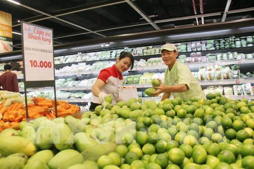 Hàng nông sản phong phú chủng loại kinh doanh tại kênh bán lẻ hiện đại. Ảnh: Mỹ Phuong - TTXVN