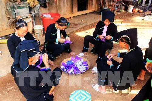Phụ nữ dân tộc Dao Quần chẹt chuẩn bị các đồ thờ cúng trong lễ Tủ Cải. Ảnh: Phan Tuấn Anh - TTXVN
