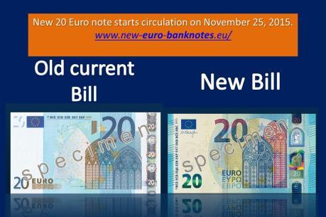 ECB chính thức lưu hành đồng 20 euro độ bảo mật cao