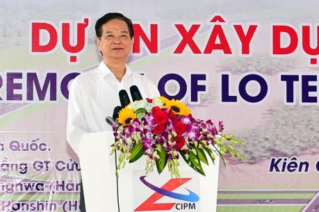 Thủ tướng Nguyễn Tấn Dũng phát lệnh khởi công tuyến đường nối Cần Thơ-Kiên Giang