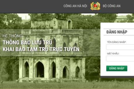 Hà Nội triển khai hệ thống thông báo lưu trú, khai báo tạm trú trực tuyến
