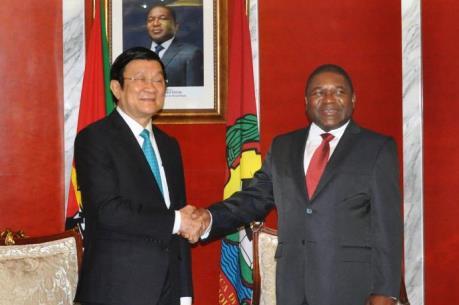 Chủ tịch nước Trương Tấn Sang hội đàm với Tổng thống Mozambique