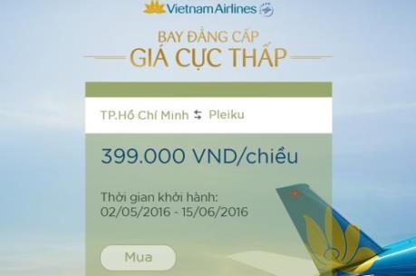 Vietnam Airlines triển khai ưu đãi vé giá 399.000 đồng/chiều