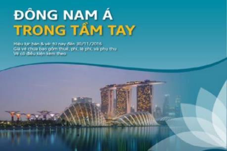 """Vietnam Airlines ưu đãi  """"Đông Nam Á trong tầm tay"""" giá 50 USD/khứ hồi"""