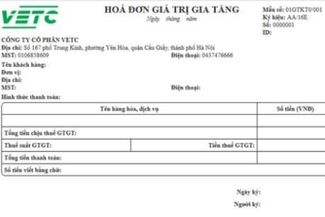 Dịch vụ thu phí tự động đường bộ ETC áp dụng hóa đơn điện tử
