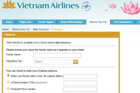 """Vietnam Airlines mở thêm điểm cung cấp dịch vụ """"web check-in"""""""