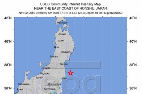 Động đất mạnh 7,3 độ Richter ở Nhật Bản