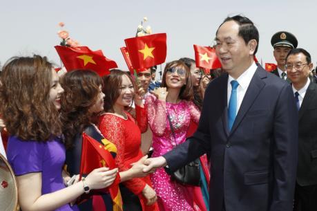 Chủ tịch nước Trần Đại Quang bắt đầu chuyến thăm cấp Nhà nước tới CHND Trung Hoa