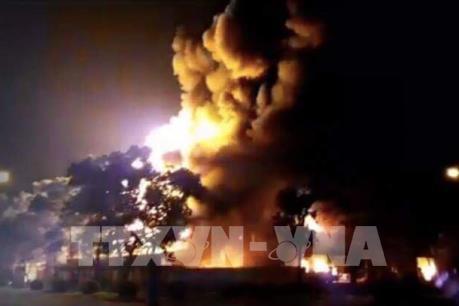 Cháy lớn tại Khu công nghiệp Nội Bài, Hà Nội