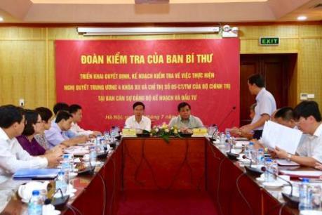 Đoàn kiểm tra của Ban Bí thư Trung ương Đảng làm việc với Bộ Kế hoạch và Đầu tư