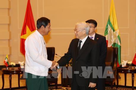 Tổng Bí thư Nguyễn Phú Trọng tiếp Chủ tịch Đảng Đoàn kết và Phát triển Liên bang Myanmar