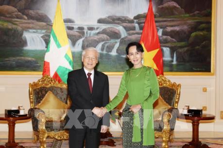 Tổng Bí thư Nguyễn Phú Trọng hội kiến với Cố vấn Nhà nước Myanmar Aung San Suu Kyi