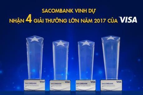 Sacombank nhận 4 giải thưởng của tổ chức thẻ Visa